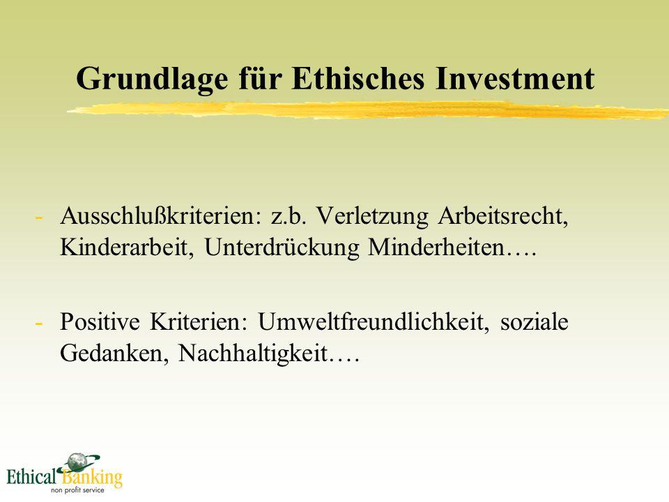 Grundlage für Ethisches Investment -Ausschlußkriterien: z.b.