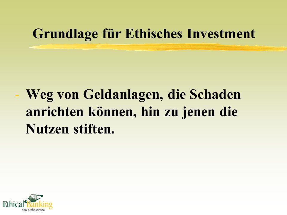 Grundlage für Ethisches Investment -Weg von Geldanlagen, die Schaden anrichten können, hin zu jenen die Nutzen stiften.