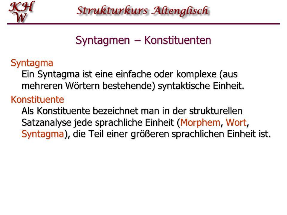 Syntagmen – Konstituenten Syntagma Ein Syntagma ist eine einfache oder komplexe (aus mehreren Wörtern bestehende) syntaktische Einheit. Konstituente A