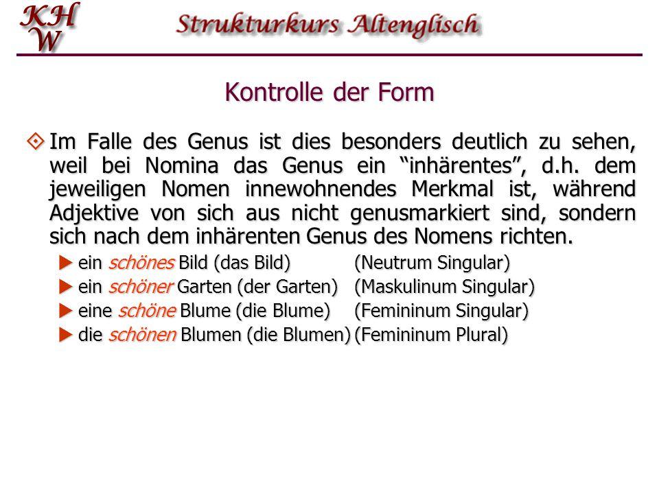 """Kontrolle der Form  Im Falle des Genus ist dies besonders deutlich zu sehen, weil bei Nomina das Genus ein """"inhärentes"""", d.h. dem jeweiligen Nomen in"""
