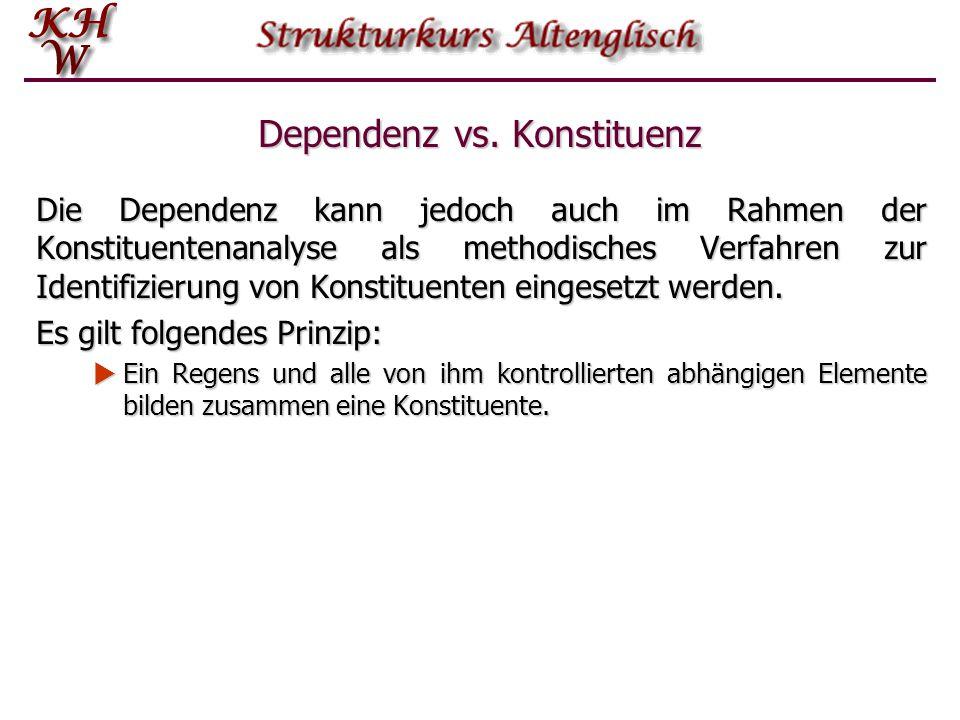 Dependenz vs. Konstituenz Die Dependenz kann jedoch auch im Rahmen der Konstituentenanalyse als methodisches Verfahren zur Identifizierung von Konstit