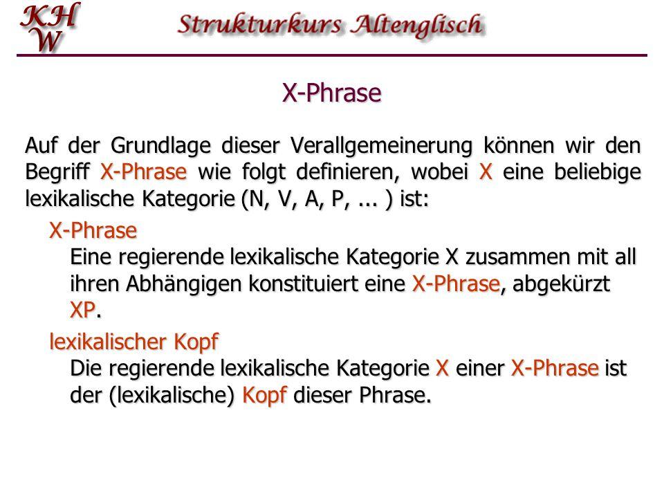 X-Phrase Auf der Grundlage dieser Verallgemeinerung können wir den Begriff X-Phrase wie folgt definieren, wobei X eine beliebige lexikalische Kategori