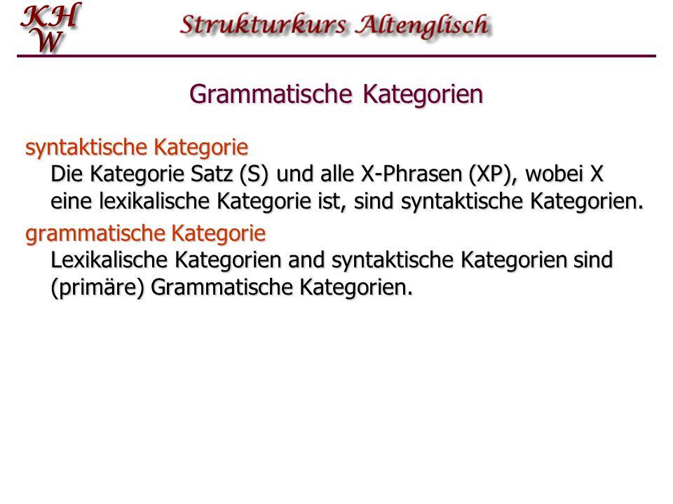 Grammatische Kategorien syntaktische Kategorie Die Kategorie Satz (S) und alle X-Phrasen (XP), wobei X eine lexikalische Kategorie ist, sind syntaktis