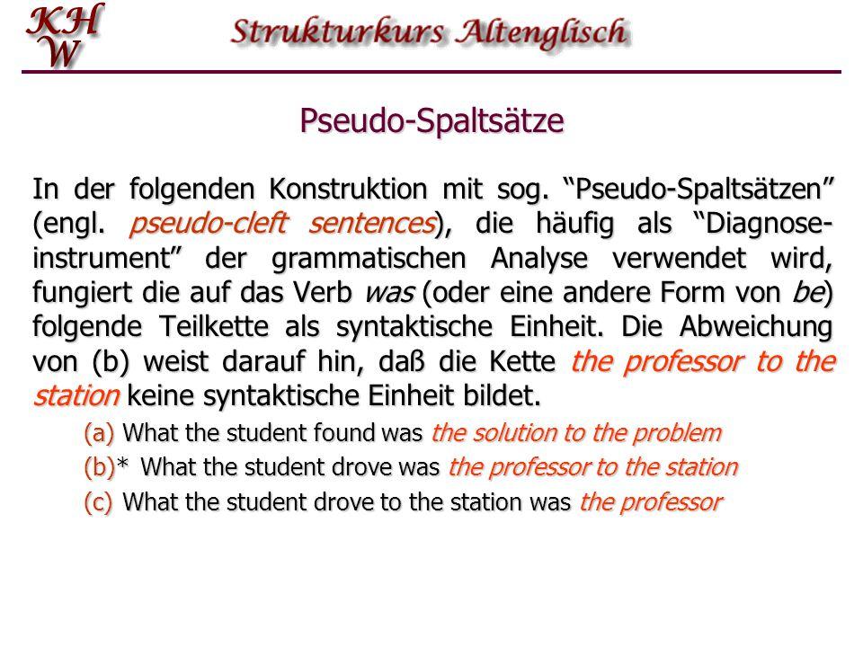 """Pseudo-Spaltsätze In der folgenden Konstruktion mit sog. """"Pseudo-Spaltsätzen"""" (engl. pseudo-cleft sentences), die häufig als """"Diagnose- instrument"""" de"""