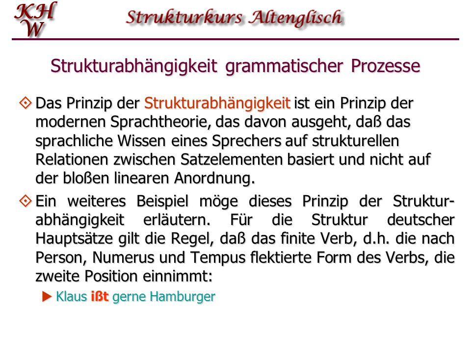 Strukturabhängigkeit grammatischer Prozesse  Das Prinzip der Strukturabhängigkeit ist ein Prinzip der modernen Sprachtheorie, das davon ausgeht, daß