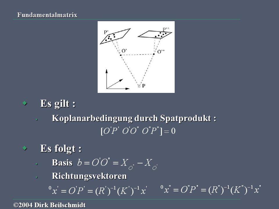  Einsetzung liefert : mit der Fundamentalmatrix F und der schiefsymmetrischen Matrix mit der Fundamentalmatrix F und der schiefsymmetrischen Matrix Fundamentalmatrix ©2004 Dirk Beilschmidt