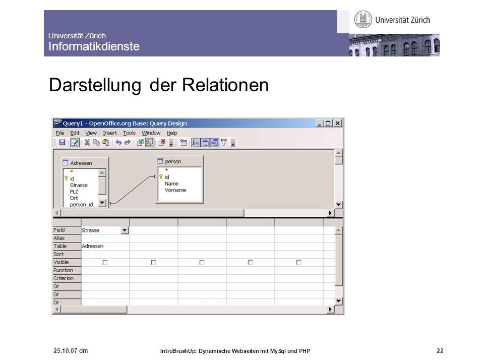 Universität Zürich Informatikdienste 25.10.07 dm IntroBrushUp: Dynamische Webseiten mit MySql und PHP 22 Darstellung der Relationen