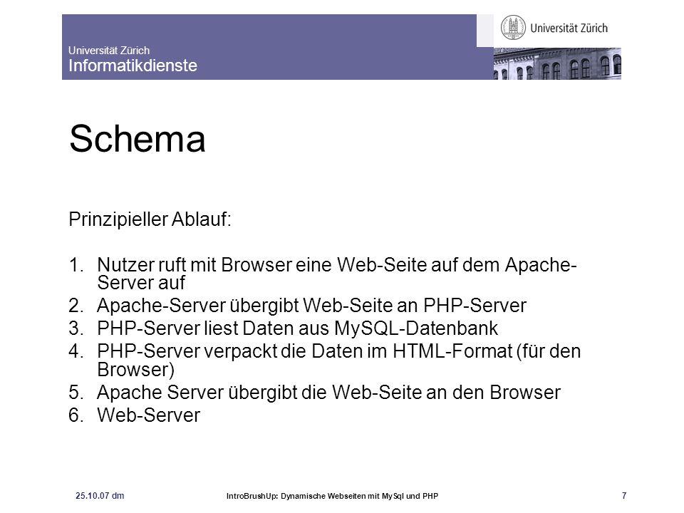 Universität Zürich Informatikdienste 25.10.07 dm IntroBrushUp: Dynamische Webseiten mit MySql und PHP 7 Schema Prinzipieller Ablauf: 1.Nutzer ruft mit