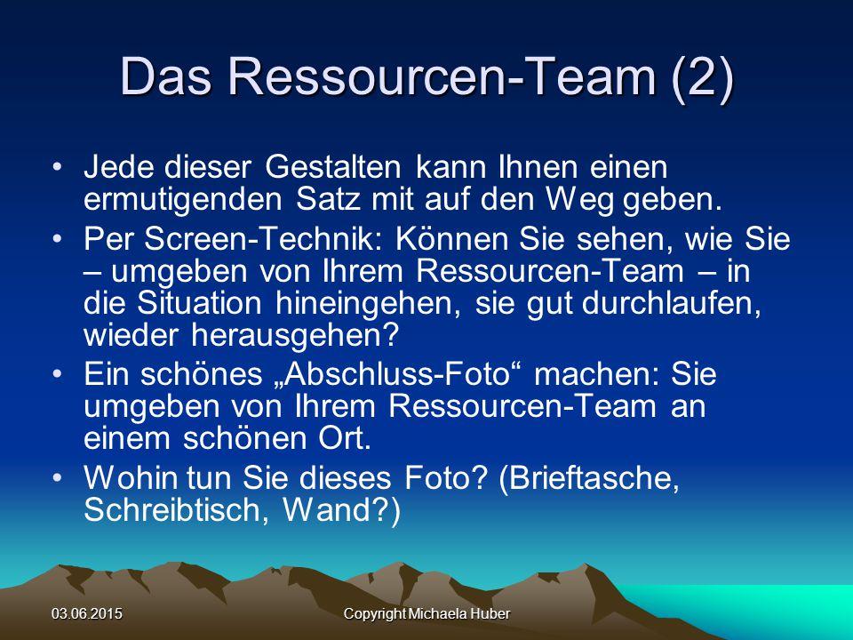 03.06.2015Copyright Michaela Huber Das Ressourcen-Team (2) Jede dieser Gestalten kann Ihnen einen ermutigenden Satz mit auf den Weg geben.