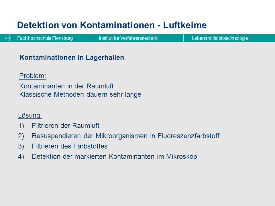 Fachhochschule FlensburgInstitut für VerfahrenstechnikLebensmittelbiotechnologie Detektion von Kontaminationen - Luftkeime Vakuumpumpe zweiter Membranfilter Ansaugstutzen Flüssigkeitspumpe erster Membranfilter Fluoreszenz- farbstoff