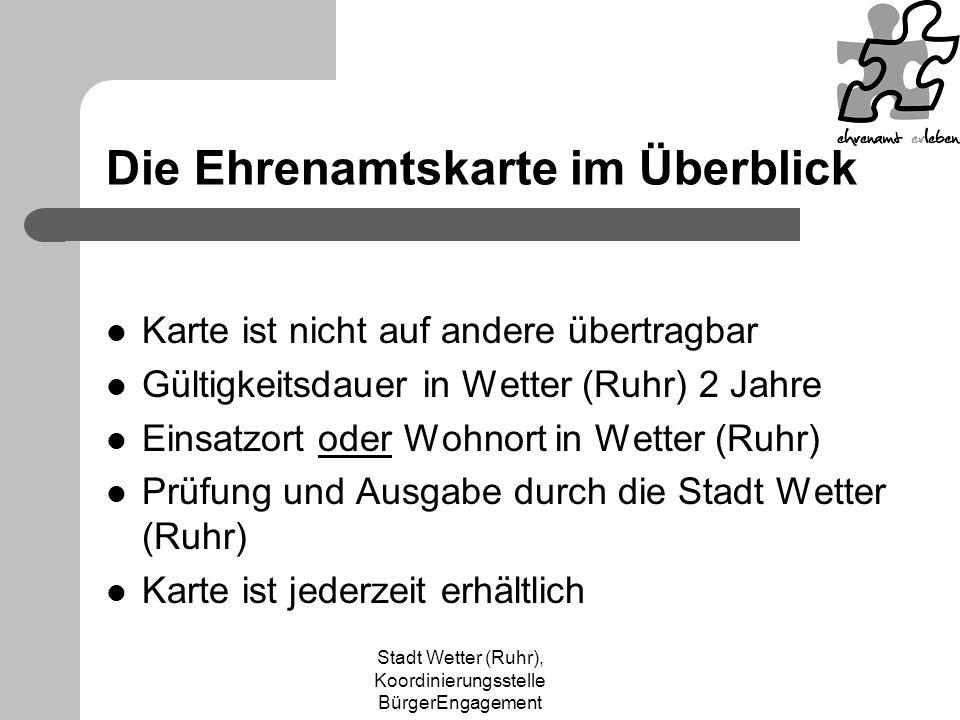 Stadt Wetter (Ruhr), Koordinierungsstelle BürgerEngagement Werbematerial Kassenaufkleber Flyer