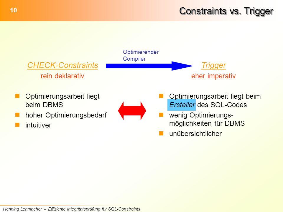 10 Henning Lehmacher - Effiziente Integritätsprüfung für SQL-Constraints Trigger eher imperativ Optimierungsarbeit liegt beim Ersteller des SQL-Codes wenig Optimierungs- möglichkeiten für DBMS unübersichtlicher Constraints vs.