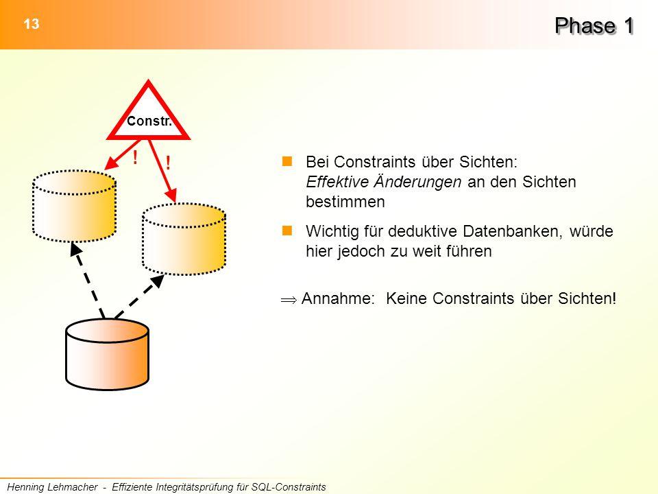 13 Henning Lehmacher - Effiziente Integritätsprüfung für SQL-Constraints Phase 1 Bei Constraints über Sichten: Effektive Änderungen an den Sichten bestimmen Wichtig für deduktive Datenbanken, würde hier jedoch zu weit führen  Annahme: Keine Constraints über Sichten.