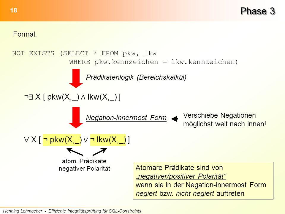 18 Henning Lehmacher - Effiziente Integritätsprüfung für SQL-Constraints Phase 3 Formal: NOT EXISTS (SELECT * FROM pkw, lkw WHERE pkw.kennzeichen = lkw.kennzeichen) atom.