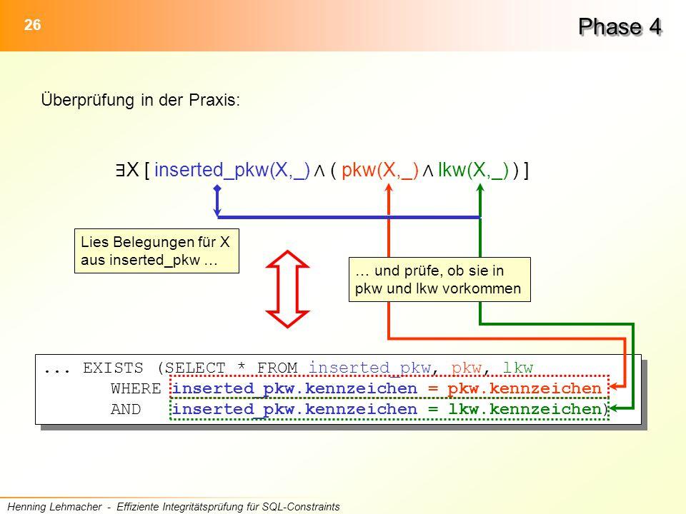 26 Henning Lehmacher - Effiziente Integritätsprüfung für SQL-Constraints Phase 4 ∃ X [ inserted_pkw(X,_) ∧ ( pkw(X,_) ∧ lkw(X,_) ) ]...