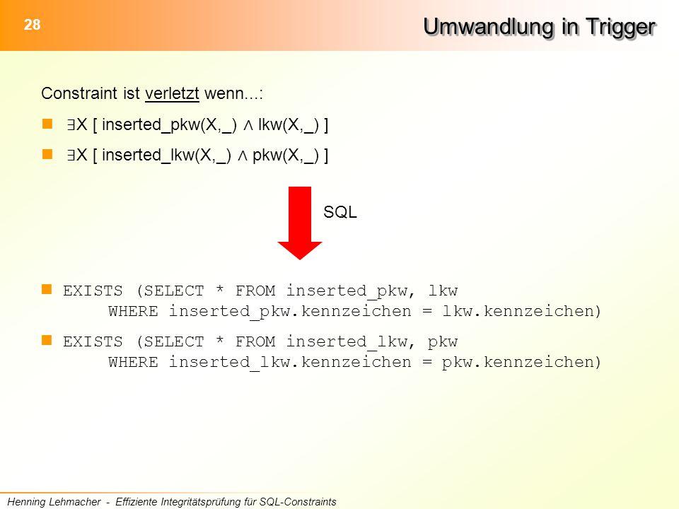 28 Henning Lehmacher - Effiziente Integritätsprüfung für SQL-Constraints Umwandlung in Trigger Constraint ist verletzt wenn...: ∃ X [ inserted_pkw(X,_) ∧ lkw(X,_) ] ∃ X [ inserted_lkw(X,_) ∧ pkw(X,_) ] EXISTS (SELECT * FROM inserted_pkw, lkw WHERE inserted_pkw.kennzeichen = lkw.kennzeichen) EXISTS (SELECT * FROM inserted_lkw, pkw WHERE inserted_lkw.kennzeichen = pkw.kennzeichen) SQL