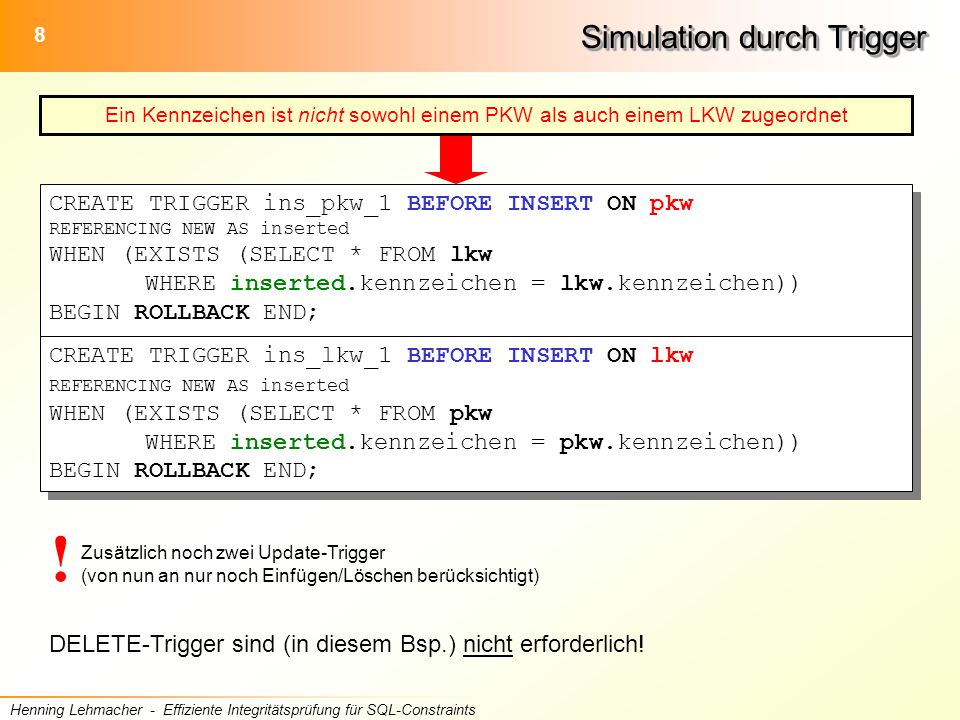 29 Henning Lehmacher - Effiziente Integritätsprüfung für SQL-Constraints Umwandlung in Trigger CREATE TRIGGER ins_pkw_1 BEFORE INSERT ON pkw REFERENCING NEW AS inserted WHEN (EXISTS (SELECT * FROM lkw WHERE inserted.kennzeichen = lkw.kennzeichen)) BEGIN ROLLBACK END; CREATE TRIGGER ins_lkw_1 BEFORE INSERT ON lkw REFERENCING NEW AS inserted WHEN (EXISTS (SELECT * FROM pkw WHERE inserted.kennzeichen = pkw.kennzeichen)) BEGIN ROLLBACK END; CREATE TRIGGER ins_pkw_1 BEFORE INSERT ON pkw REFERENCING NEW AS inserted WHEN (EXISTS (SELECT * FROM lkw WHERE inserted.kennzeichen = lkw.kennzeichen)) BEGIN ROLLBACK END; CREATE TRIGGER ins_lkw_1 BEFORE INSERT ON lkw REFERENCING NEW AS inserted WHEN (EXISTS (SELECT * FROM pkw WHERE inserted.kennzeichen = pkw.kennzeichen)) BEGIN ROLLBACK END; inserted_pkw EXISTS (SELECT * FROM inserted_pkw, lkw WHERE inserted_pkw.kennzeichen = lkw.kennzeichen) EXISTS (SELECT * FROM inserted_lkw, pkw WHERE inserted_lkw.kennzeichen = pkw.kennzeichen)