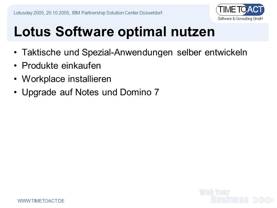 WWW.TIMETOACT.DE Lotus Software optimal nutzen Taktische und Spezial-Anwendungen selber entwickeln Produkte einkaufen Workplace installieren Upgrade auf Notes und Domino 7 Lotusday 2005, 20.10.2005, IBM Partnership Solution Center Düsseldorf