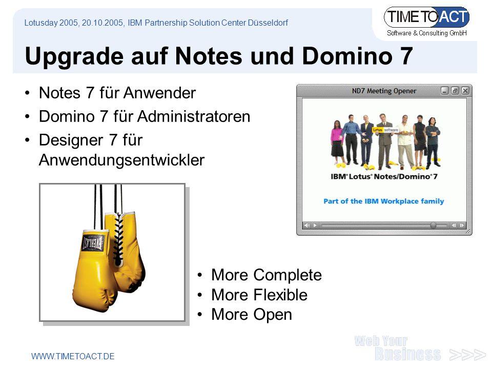 WWW.TIMETOACT.DE Upgrade auf Notes und Domino 7 Notes 7 für Anwender Domino 7 für Administratoren Designer 7 für Anwendungsentwickler Lotusday 2005, 20.10.2005, IBM Partnership Solution Center Düsseldorf More Complete More Flexible More Open