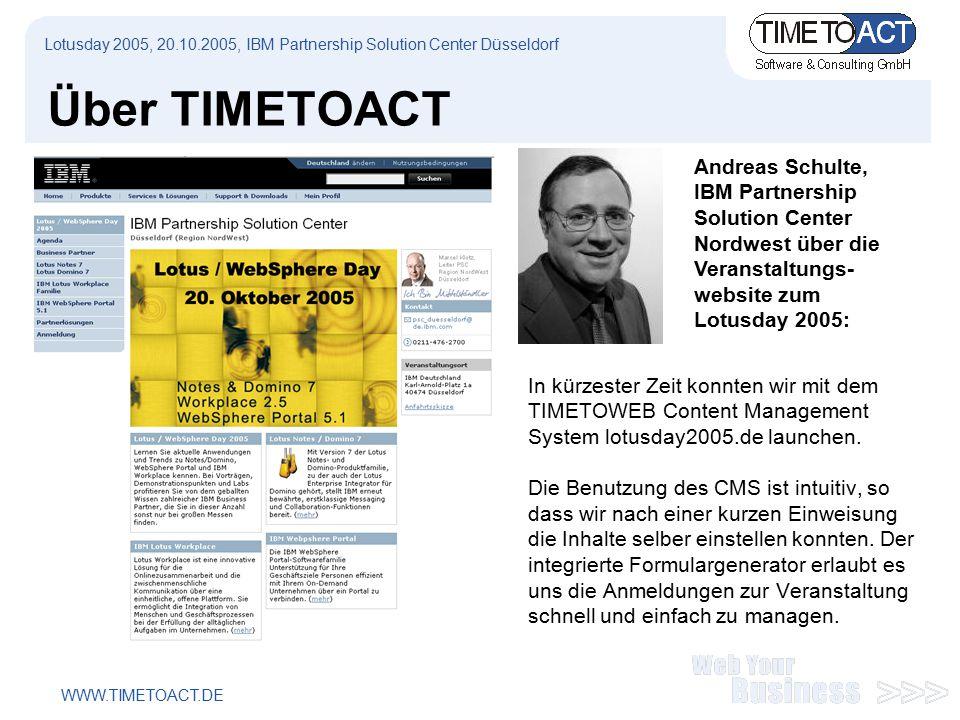 WWW.TIMETOACT.DE Über TIMETOACT In kürzester Zeit konnten wir mit dem TIMETOWEB Content Management System lotusday2005.de launchen.