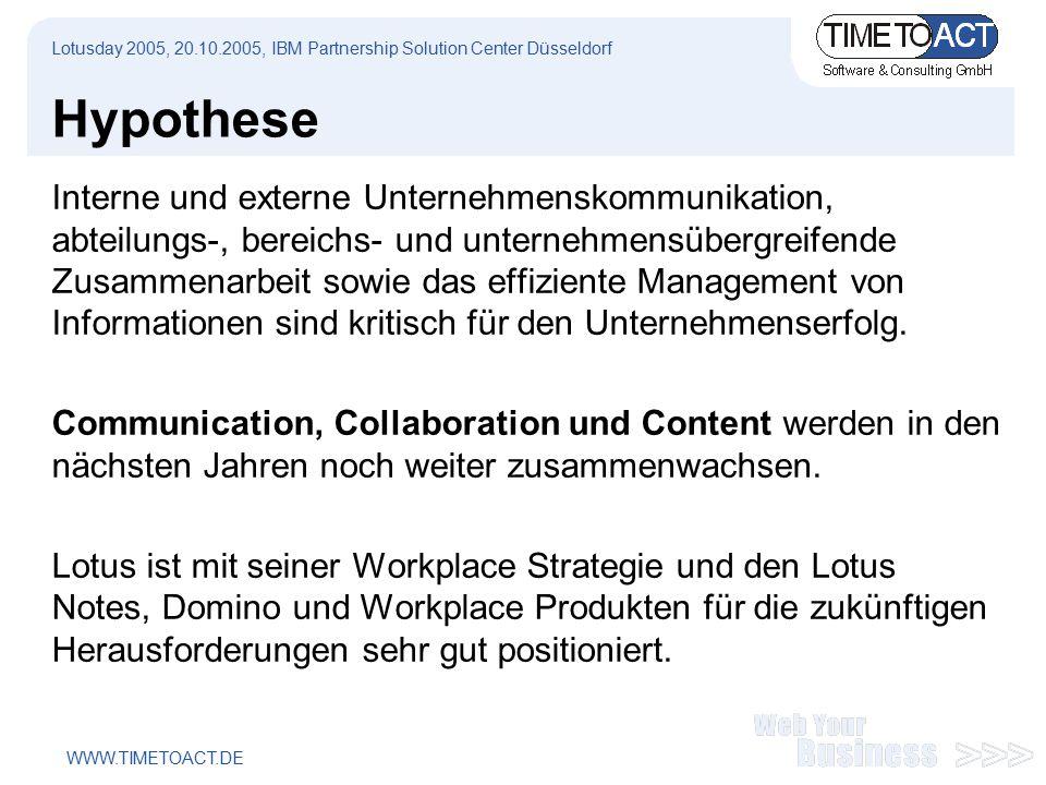 WWW.TIMETOACT.DE Hypothese Interne und externe Unternehmenskommunikation, abteilungs-, bereichs- und unternehmensübergreifende Zusammenarbeit sowie das effiziente Management von Informationen sind kritisch für den Unternehmenserfolg.
