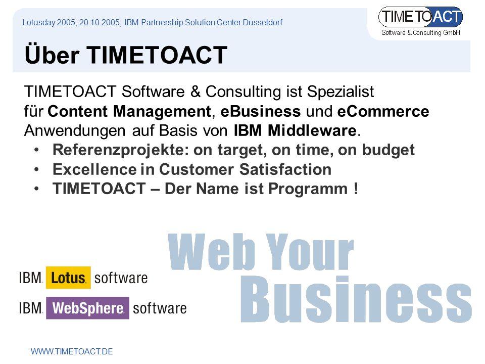 WWW.TIMETOACT.DE Über TIMETOACT TIMETOACT Software & Consulting ist Spezialist für Content Management, eBusiness und eCommerce Anwendungen auf Basis von IBM Middleware.