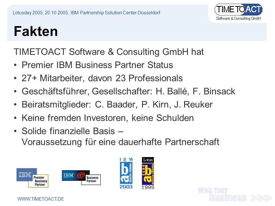 WWW.TIMETOACT.DE Fakten TIMETOACT Software & Consulting GmbH hat Premier IBM Business Partner Status 27+ Mitarbeiter, davon 23 Professionals Geschäftsführer, Gesellschafter: H.