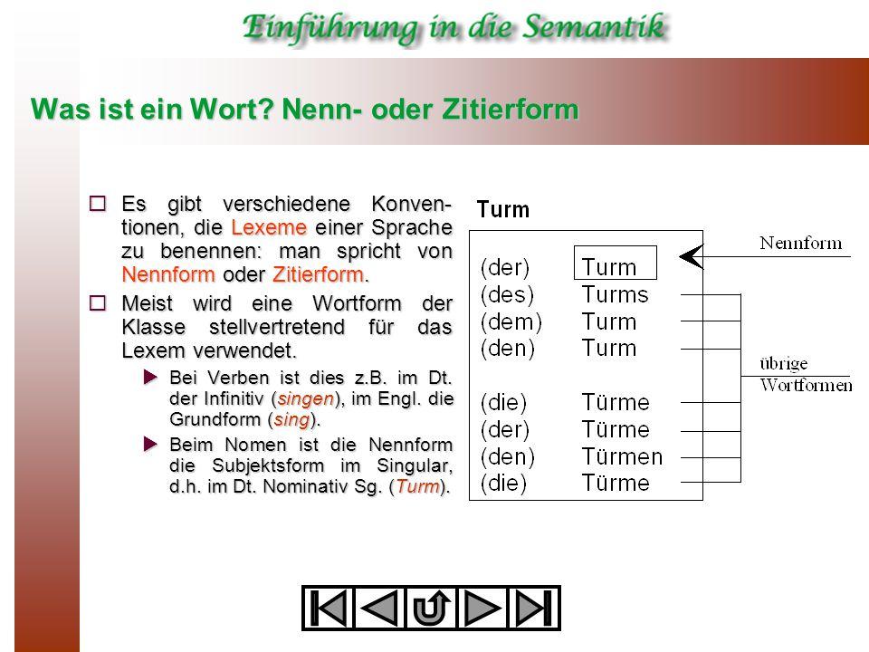 Was ist ein Wort? Nenn- oder Zitierform  Es gibt verschiedene Konven- tionen, die Lexeme einer Sprache zu benennen: man spricht von Nennform oder Zit