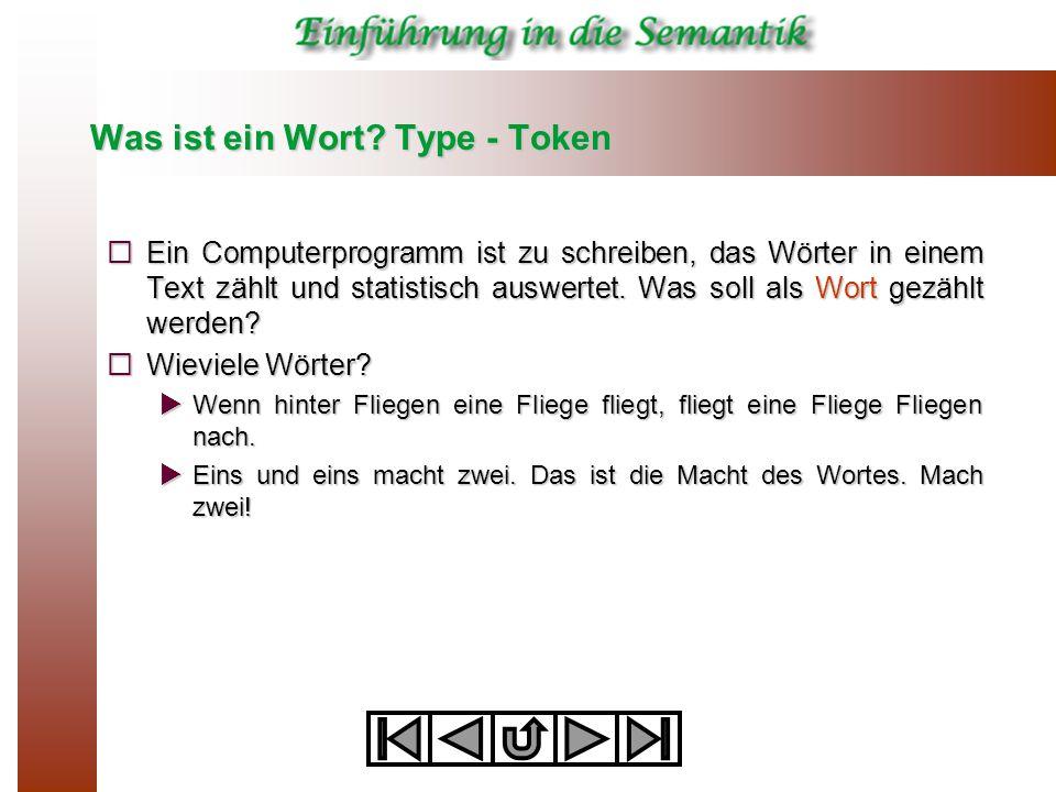 Was ist ein Wort? Type - Token  Ein Computerprogramm ist zu schreiben, das Wörter in einem Text zählt und statistisch auswertet. Was soll als Wort ge