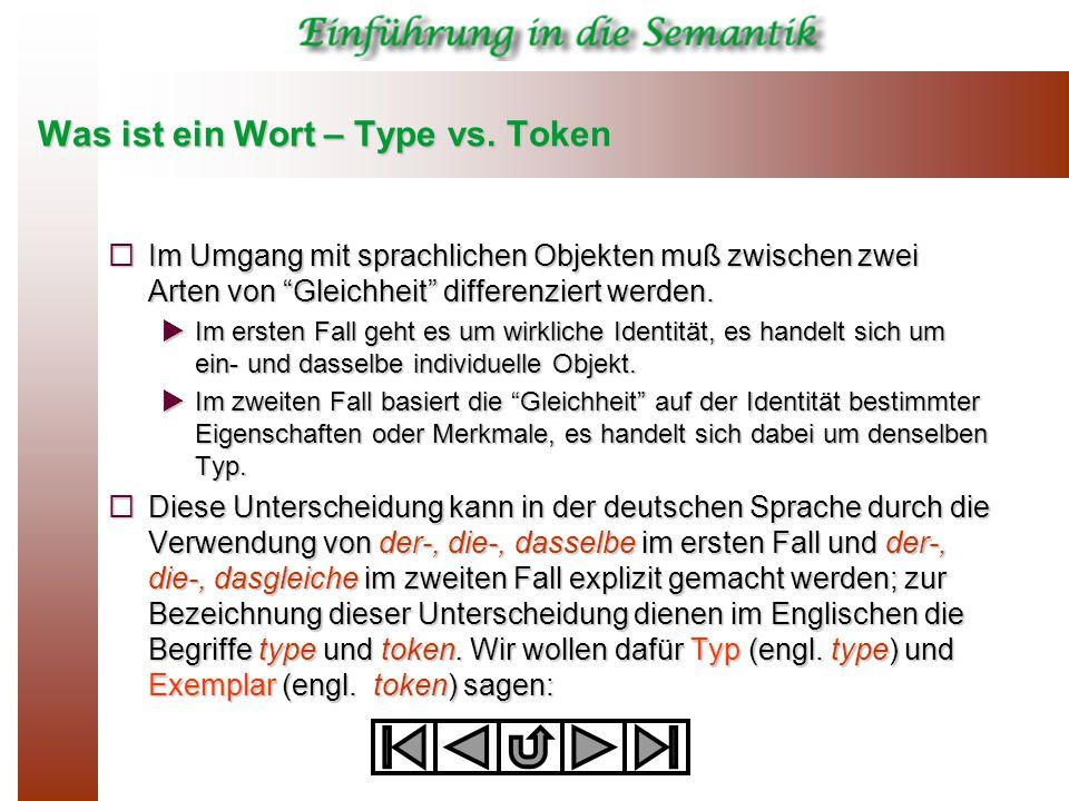 """Was ist ein Wort – Type vs. Token  Im Umgang mit sprachlichen Objekten muß zwischen zwei Arten von """"Gleichheit"""" differenziert werden.  Im ersten Fal"""