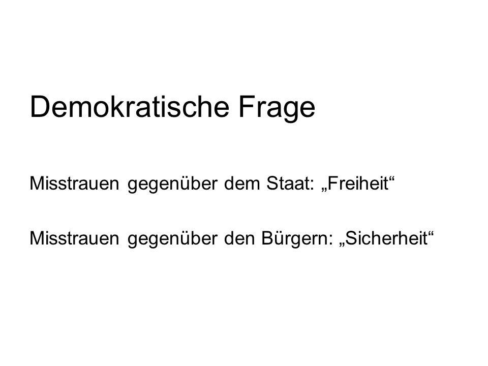 """Demokratische Frage Misstrauen gegenüber dem Staat: """"Freiheit Misstrauen gegenüber den Bürgern: """"Sicherheit"""
