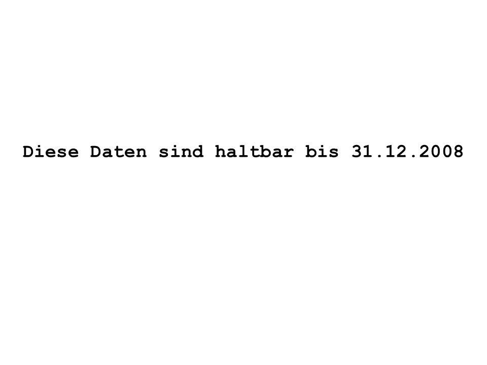 Diese Daten sind haltbar bis 31.12.2008