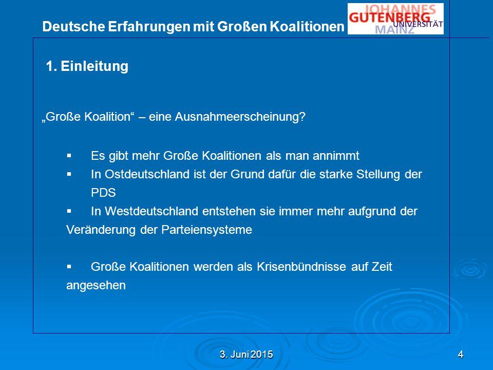 Deutsche Erfahrungen mit Großen Koalitionen 3. Juni 20153. Juni 20153. Juni 20155 1.Einleitung