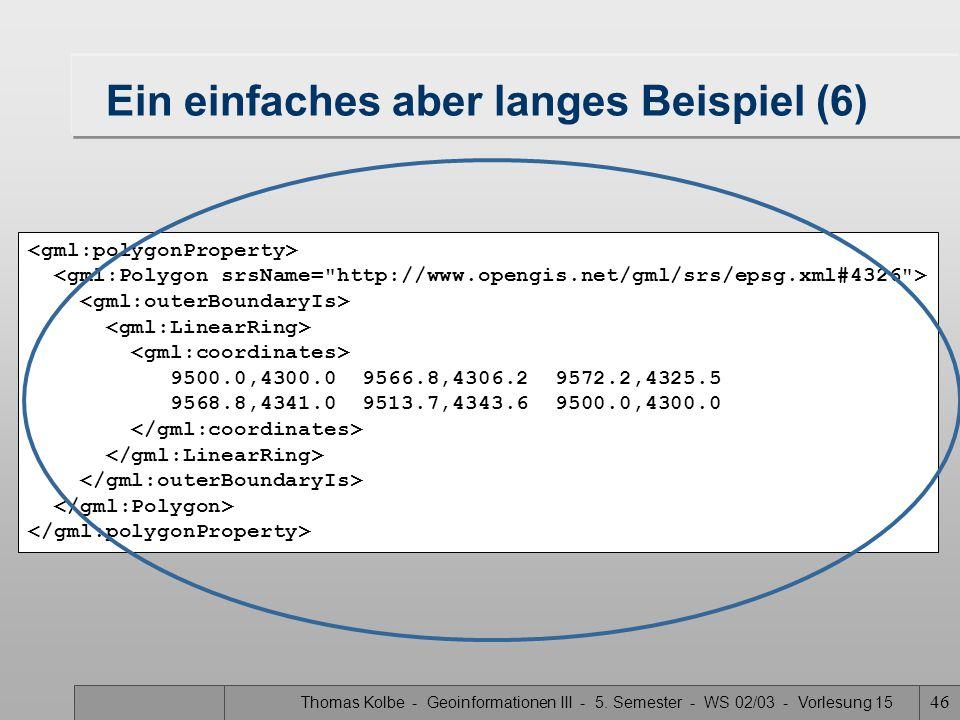 Thomas Kolbe - Geoinformationen III - 5.Semester - WS 02/03 - Vorlesung 15 45 Flst.