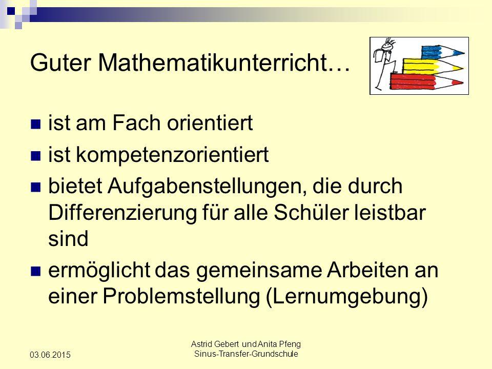 Astrid Gebert und Anita Pfeng Sinus-Transfer-Grundschule 03.06.2015 Guter Mathematikunterricht… ist am Fach orientiert ist kompetenzorientiert bietet Aufgabenstellungen, die durch Differenzierung für alle Schüler leistbar sind ermöglicht das gemeinsame Arbeiten an einer Problemstellung (Lernumgebung)