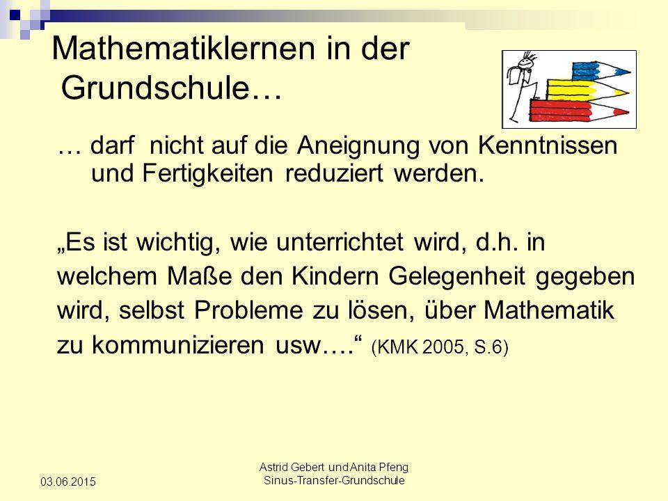 Astrid Gebert und Anita Pfeng Sinus-Transfer-Grundschule 03.06.2015 Mathematiklernen in der Grundschule… … darf nicht auf die Aneignung von Kenntnissen und Fertigkeiten reduziert werden.