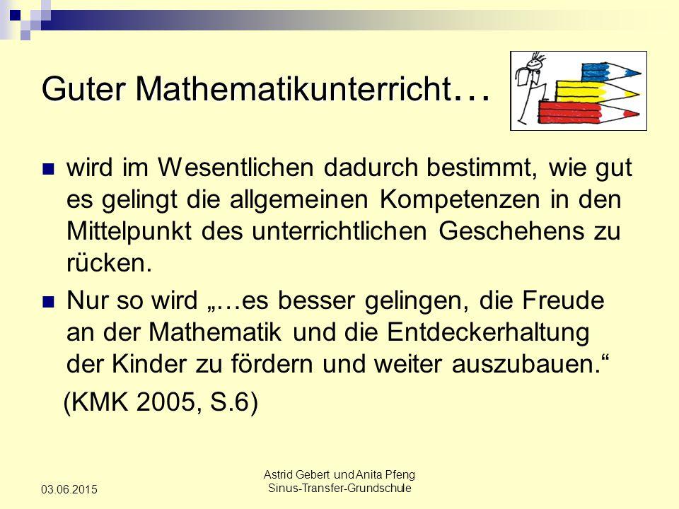 Astrid Gebert und Anita Pfeng Sinus-Transfer-Grundschule 03.06.2015 wird im Wesentlichen dadurch bestimmt, wie gut es gelingt die allgemeinen Kompetenzen in den Mittelpunkt des unterrichtlichen Geschehens zu rücken.