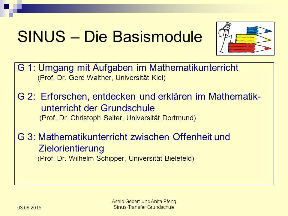 Astrid Gebert und Anita Pfeng Sinus-Transfer-Grundschule 03.06.2015 SINUS – Die Basismodule G 1: Umgang mit Aufgaben im Mathematikunterricht (Prof.