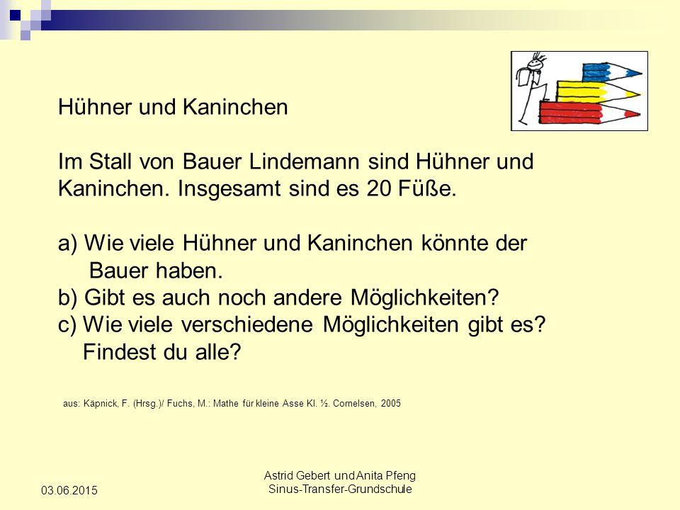 Astrid Gebert und Anita Pfeng Sinus-Transfer-Grundschule 03.06.2015 Hühner und Kaninchen Im Stall von Bauer Lindemann sind Hühner und Kaninchen.