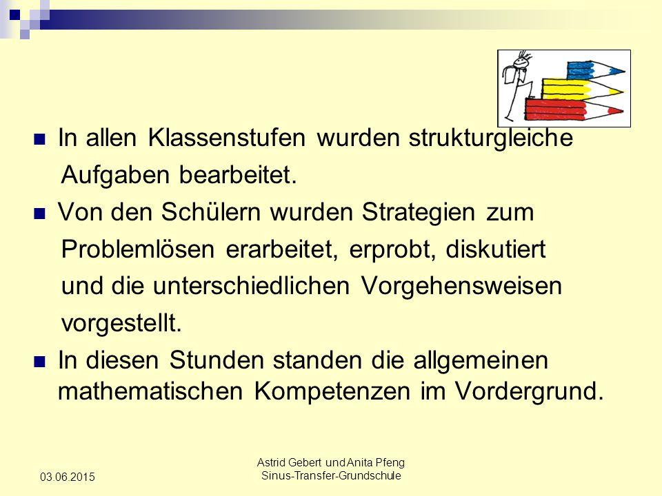 Astrid Gebert und Anita Pfeng Sinus-Transfer-Grundschule 03.06.2015 In allen Klassenstufen wurden strukturgleiche Aufgaben bearbeitet.