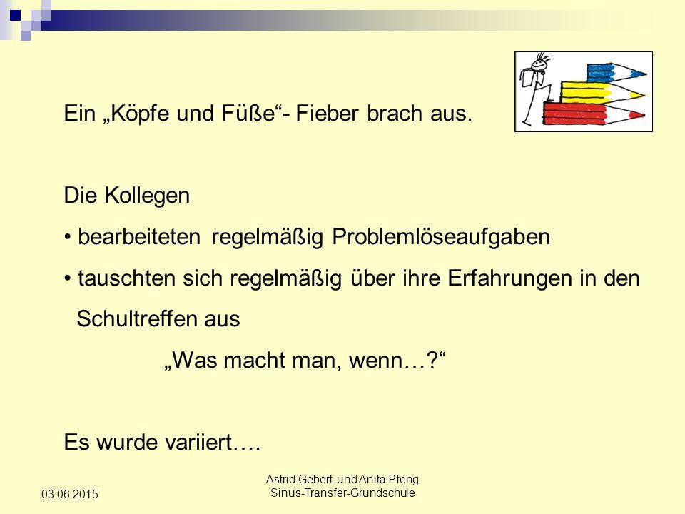 """Astrid Gebert und Anita Pfeng Sinus-Transfer-Grundschule 03.06.2015 Ein """"Köpfe und Füße - Fieber brach aus."""