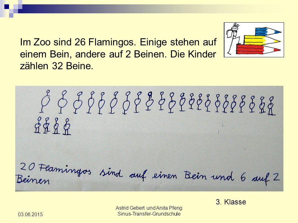 Astrid Gebert und Anita Pfeng Sinus-Transfer-Grundschule 03.06.2015 Im Zoo sind 26 Flamingos.
