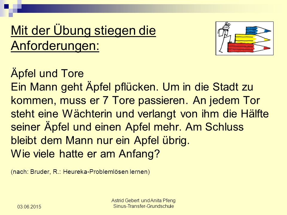Astrid Gebert und Anita Pfeng Sinus-Transfer-Grundschule 03.06.2015 Mit der Übung stiegen die Anforderungen: Äpfel und Tore Ein Mann geht Äpfel pflücken.