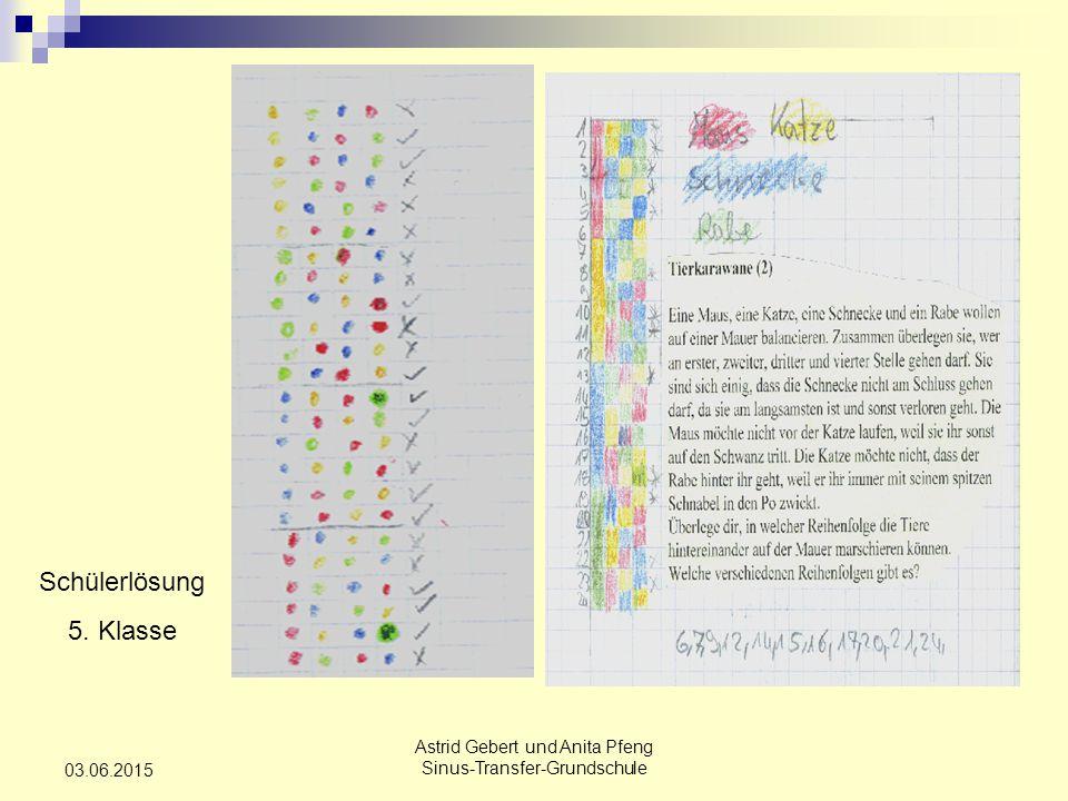 Astrid Gebert und Anita Pfeng Sinus-Transfer-Grundschule 03.06.2015 Schülerlösung 5. Klasse