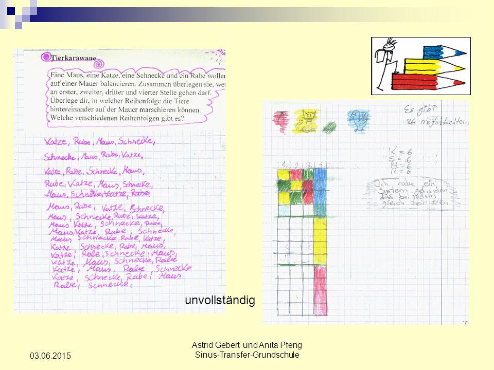 Astrid Gebert und Anita Pfeng Sinus-Transfer-Grundschule 03.06.2015 Schülerlösung 5.