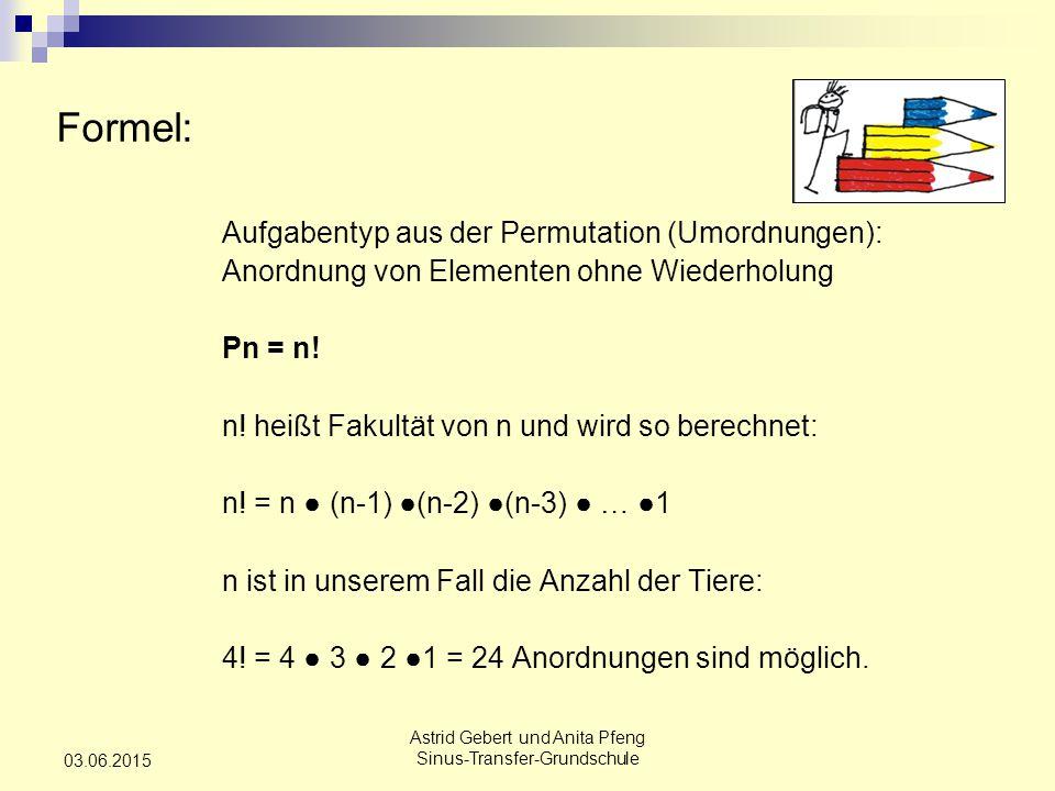 Astrid Gebert und Anita Pfeng Sinus-Transfer-Grundschule 03.06.2015 Formel: Aufgabentyp aus der Permutation (Umordnungen): Anordnung von Elementen ohne Wiederholung Pn = n.