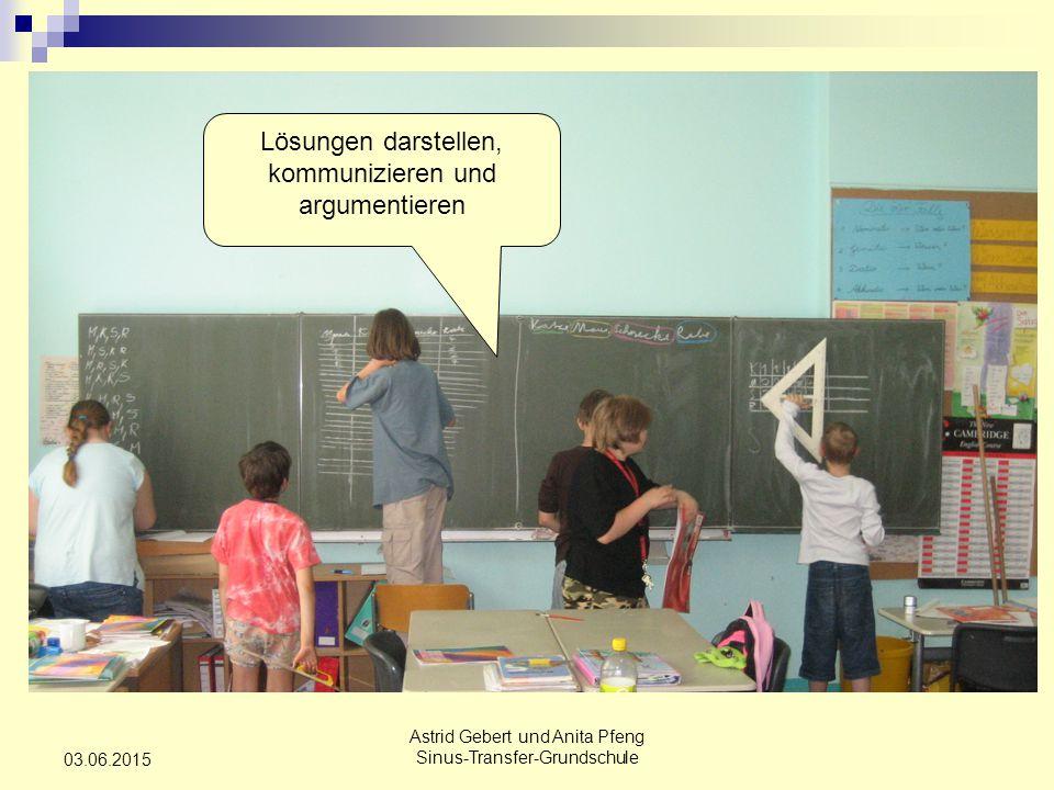 Astrid Gebert und Anita Pfeng Sinus-Transfer-Grundschule 03.06.2015 Lösungen darstellen, kommunizieren und argumentieren