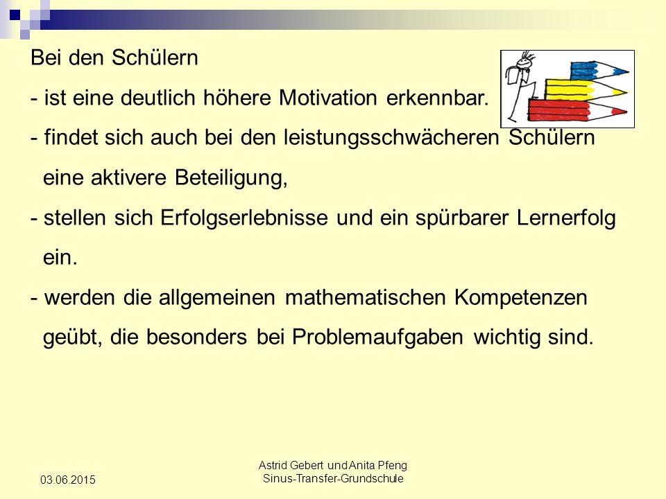 Astrid Gebert und Anita Pfeng Sinus-Transfer-Grundschule 03.06.2015 Bei den Schülern - ist eine deutlich höhere Motivation erkennbar.