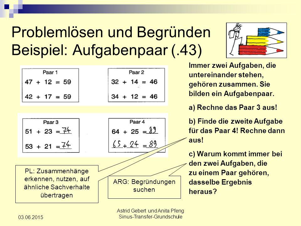 Astrid Gebert und Anita Pfeng Sinus-Transfer-Grundschule 03.06.2015 Problemlösen und Begründen Beispiel: Aufgabenpaar (.43) Immer zwei Aufgaben, die untereinander stehen, gehören zusammen.