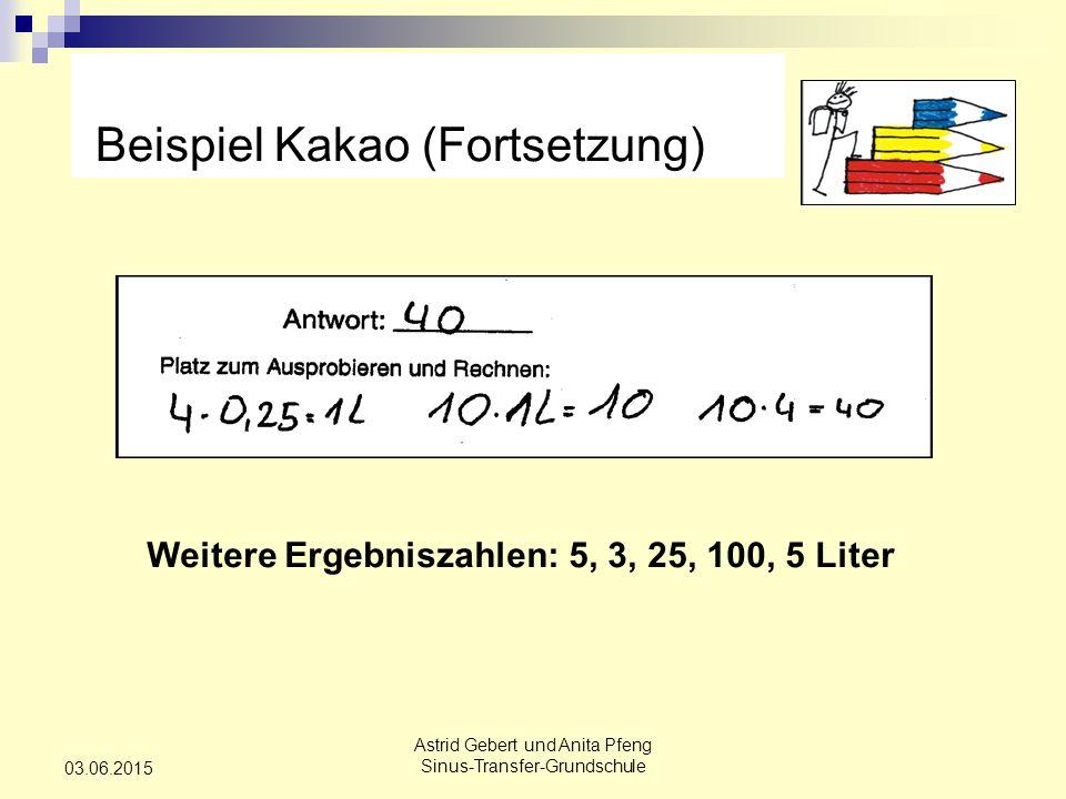 Astrid Gebert und Anita Pfeng Sinus-Transfer-Grundschule 03.06.2015 Beispiel Kakao (Fortsetzung) Weitere Ergebniszahlen: 5, 3, 25, 100, 5 Liter